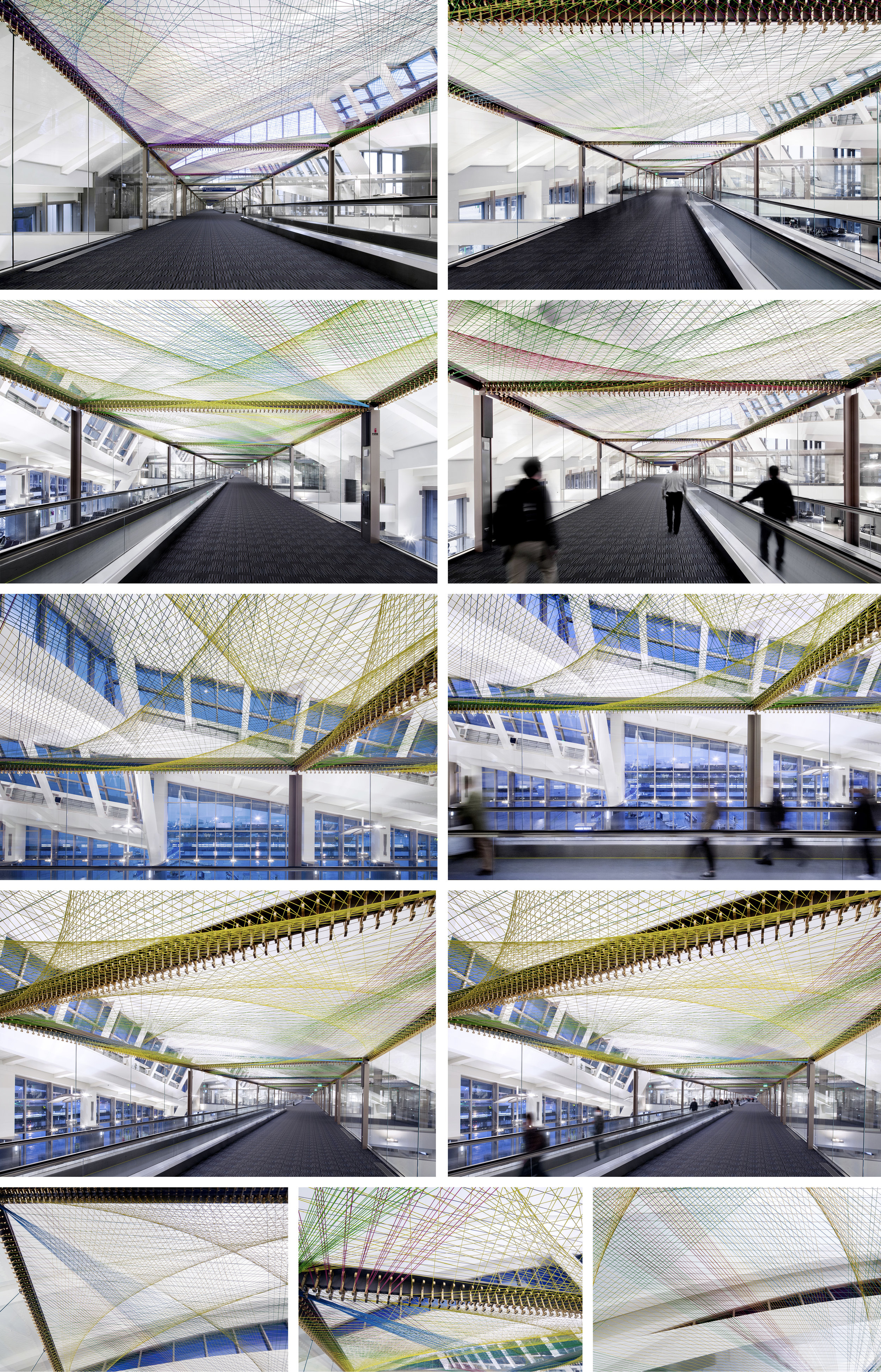 Pae White ΣLAX 2015 Gold anodized aluminum brackets (7,484) and Silverflex decorative cordage (23.86 miles)  Los Angeles International Airport