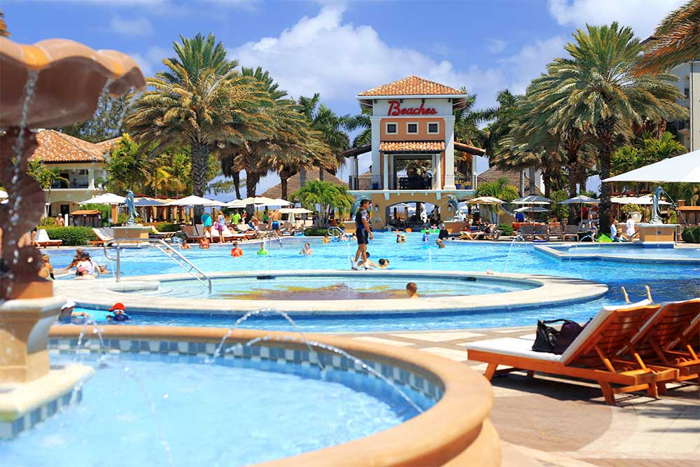The Italian Village Pool at Beaches Turks & Caicos resort is gorgeous. Fountains give the pool a luxurious feel and the integrated kiddie pool makes it easy for parents to mingle with children in sight.