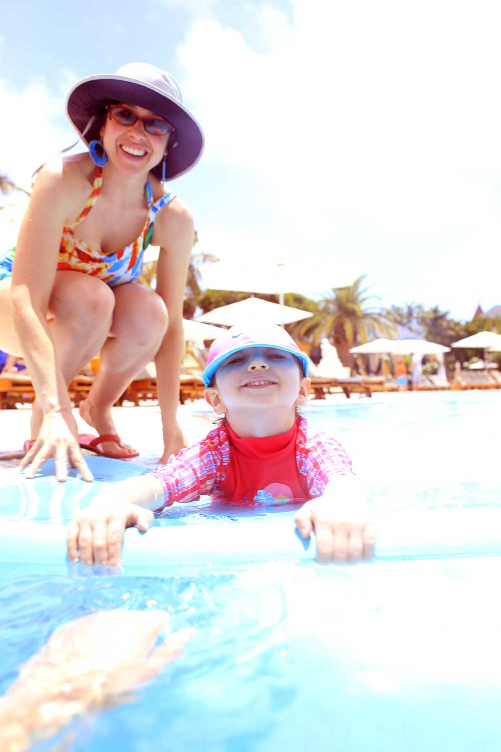 Our daughter learned how to swim in the French Village Pool of Beaches Turks & Caicos resort. We visited the resort three years in a row.