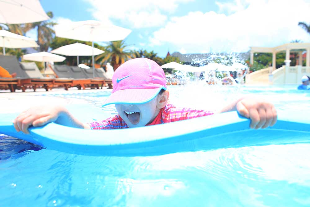 The French Village Pool is big enough for families to stake out a semi-private spot.