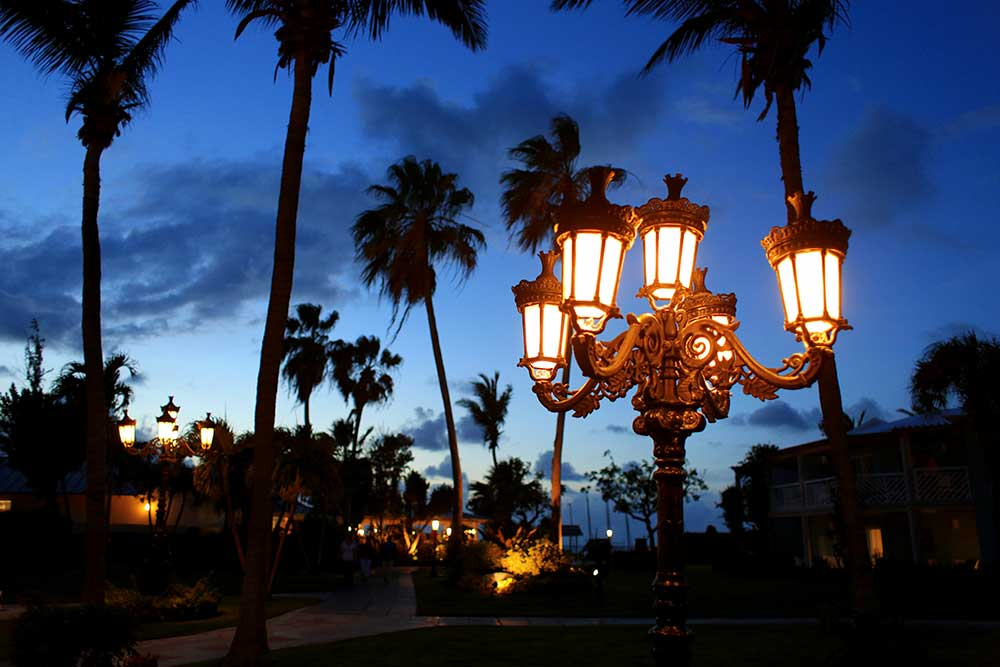 Beaches' Caribbean Village is full of single-story bungalows with lots of open sky. It's a great place to enjoy the sunset and the iron gas lamps give it a romantic vibe at night.