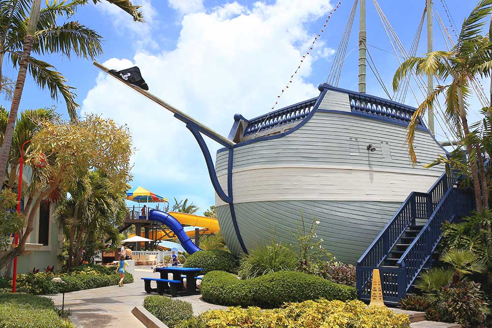 Bobby Dee's is located inside the Jolly Roger pirate ship in Beaches' Pirate's Island Waterpark.