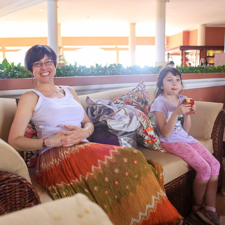 The welcome lounge at Dreams is comfortable, but we would have liked a shorter check-in.