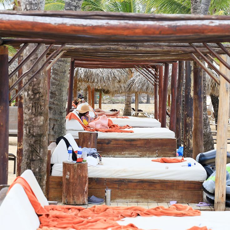 The cabanas at Dreams are literal beds, but the early beachgoer gets the mattress, as the saying goes.