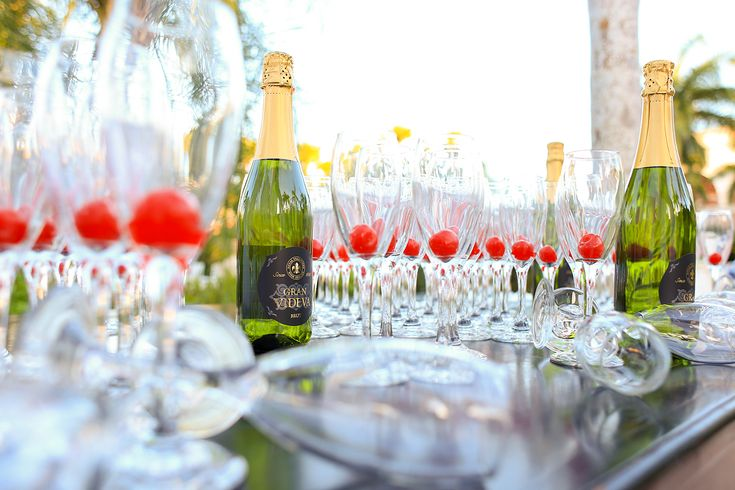 """One of the social events at the resort is a """"Champagne"""" toast outside of the welcome center."""
