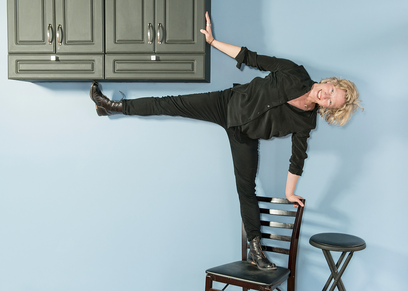 Julie Rothschild  Having fun   at her dance & movement studio.