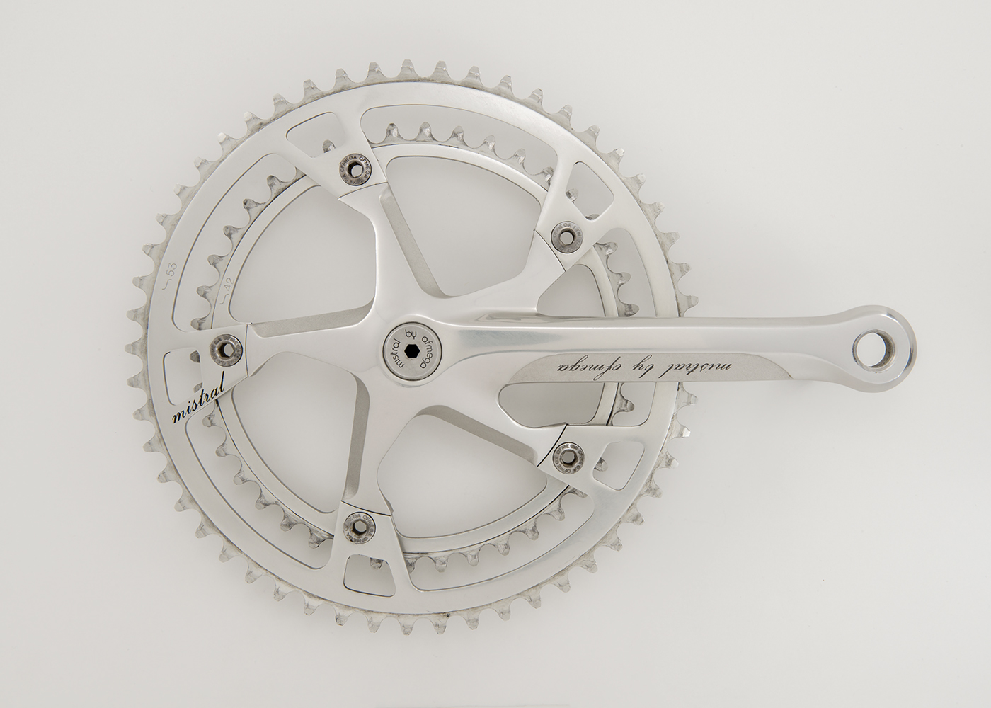 Ofmega Mistral  They were made in the 1980's and feature a proprietary angled spyder and chainrings.