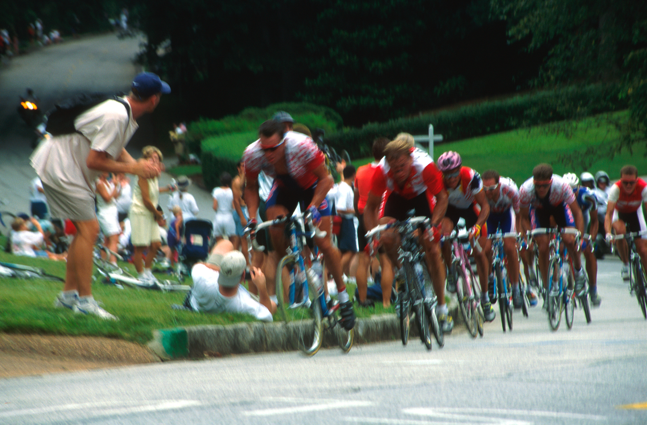 1996 Men's Olympic Road Race. Atlanta GA. 138.7 miles at an average speed of 28.14MPH! Left to Right - Lance Armstrong - USA, Zbigniew Spruch - Poland, Melchor Mauri - Spain, Max Sciandi - Great Britain, Frankie Andreau - USA, Fabio Baldato - Italy, Rolf Sorenson - Denmark and a few hidden guys. Shot on film.