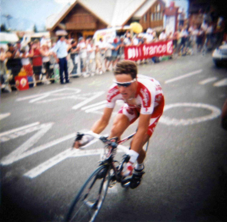 Sylvain Chavanel. Alpe d'Huez, France. Individual Time Trial. Taken with a  plastic Holga 120 film camera.