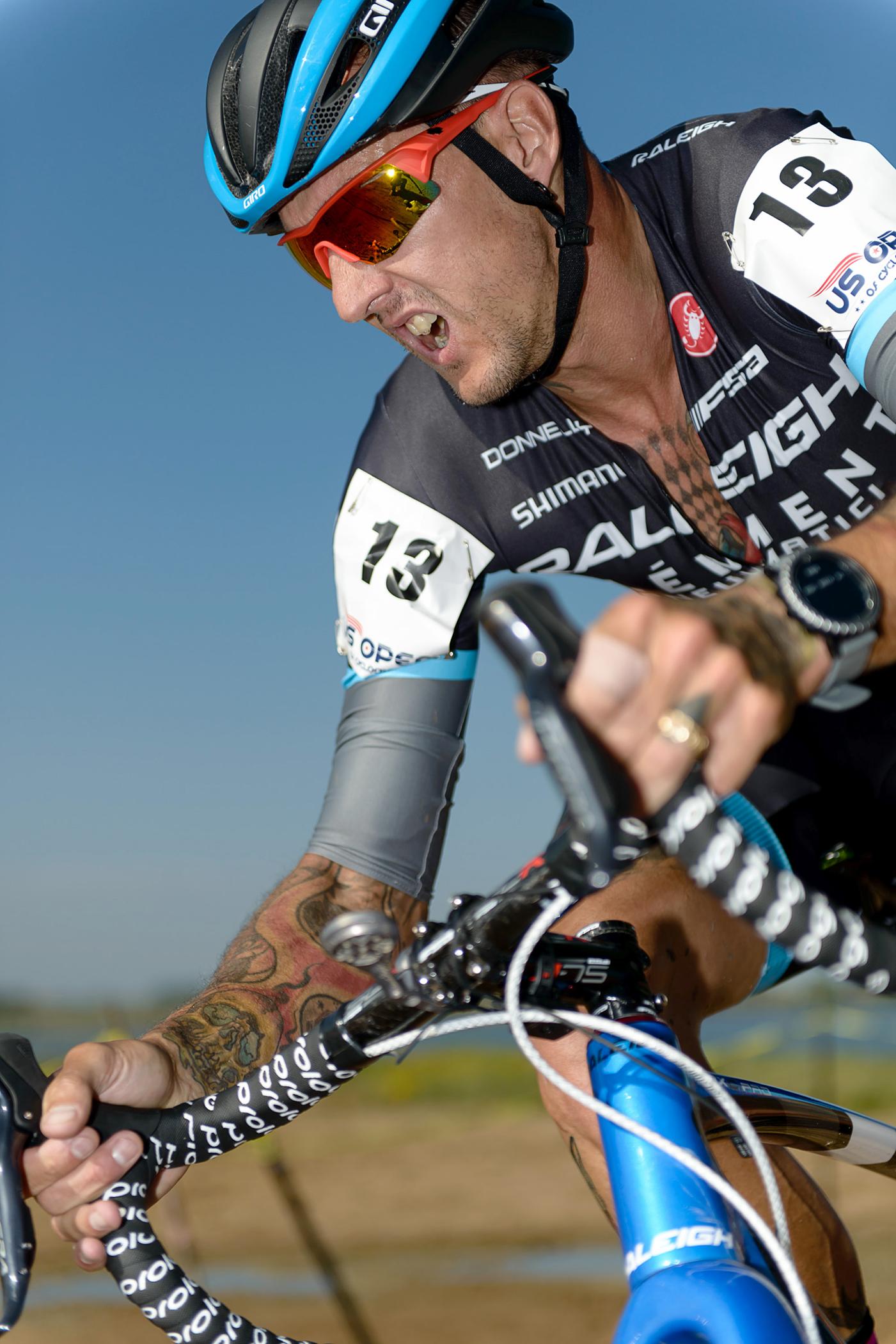 Ben Berden cornering hard at the US Open of Cyclocross. Boulder Reservoir. Boulder, CO.