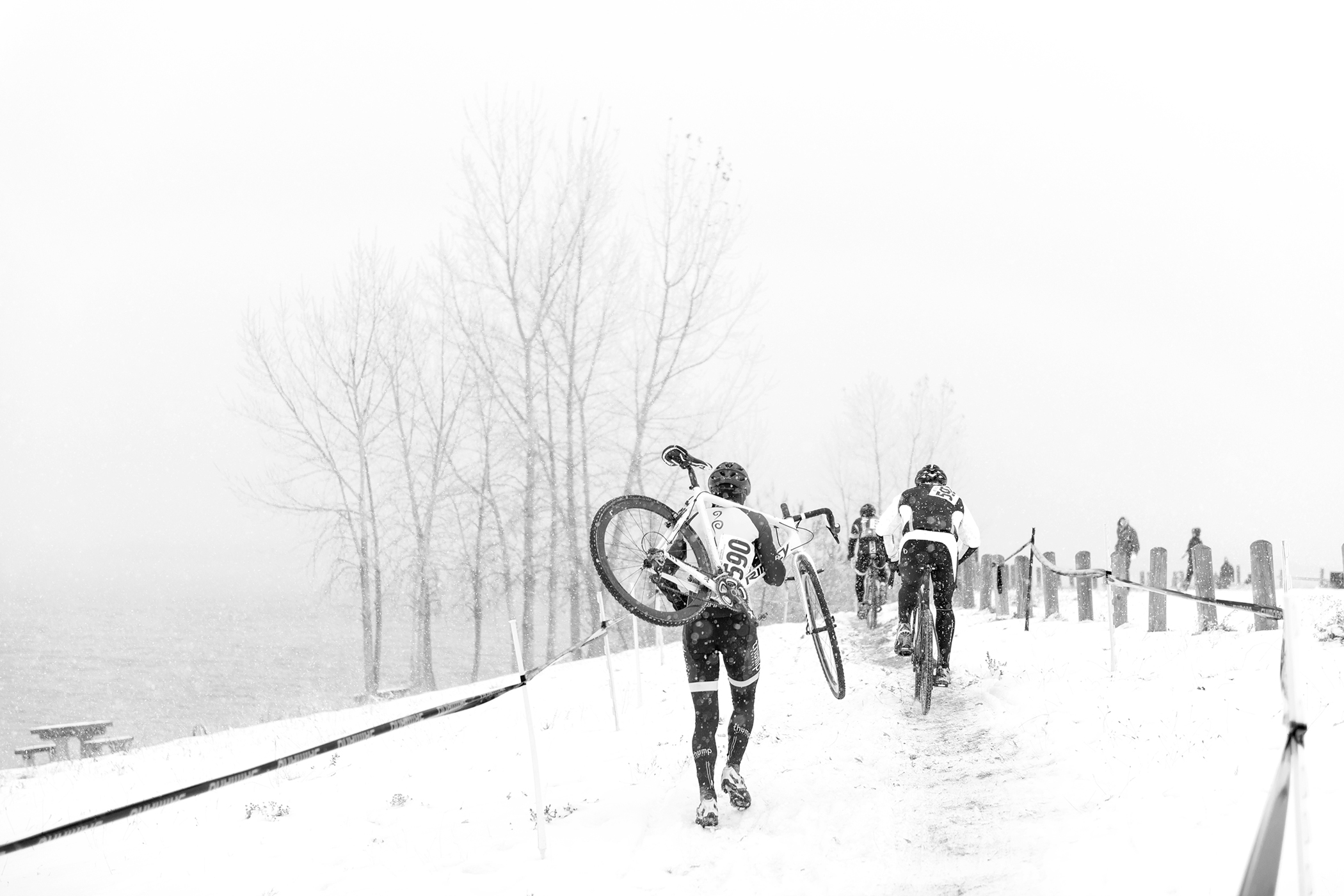 Perfect winter cyclocross conditions. Boulder Reservoir. Boulder, CO.