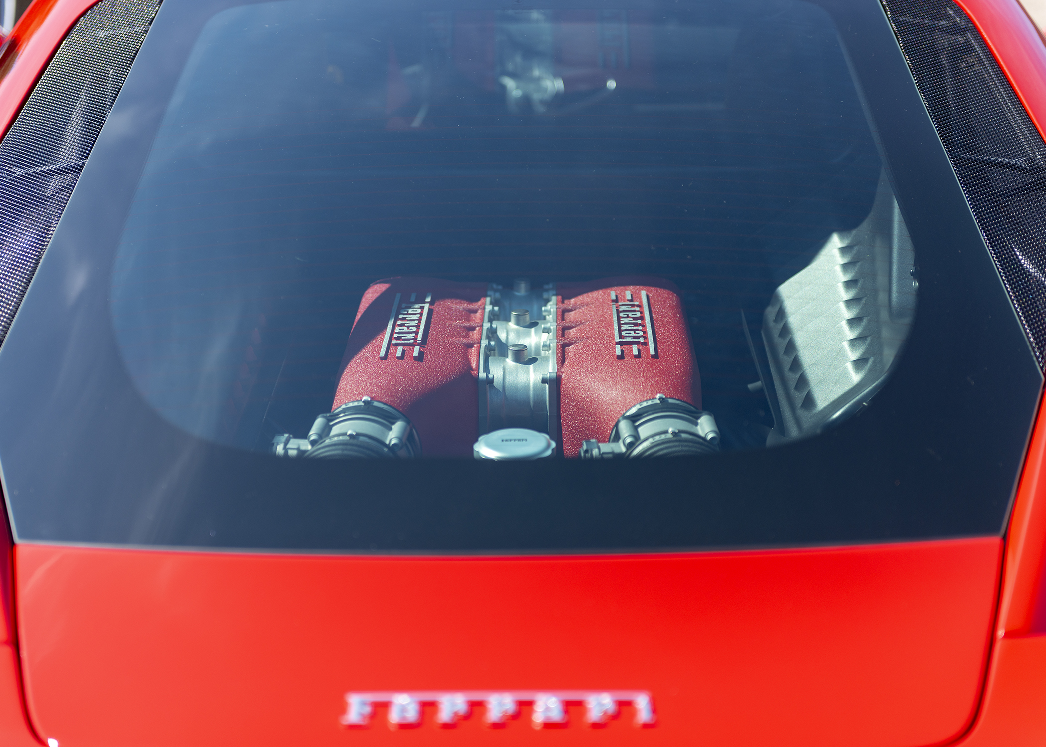 Ferrari 458 Engine. 4.5 Liter Flat-Plane V8. 597 Horsepower. Max Engine Speed - 9000rpm!