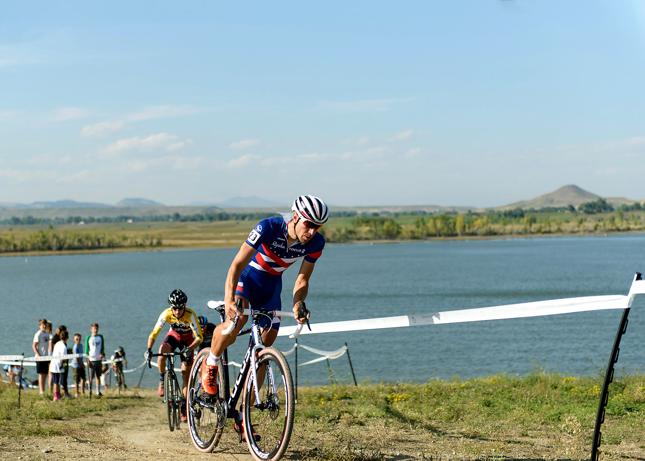 National Cyclocross Champion Jeremy Powers leads Allen Krughoff. Boulder Reservoir. Boulder, CO.