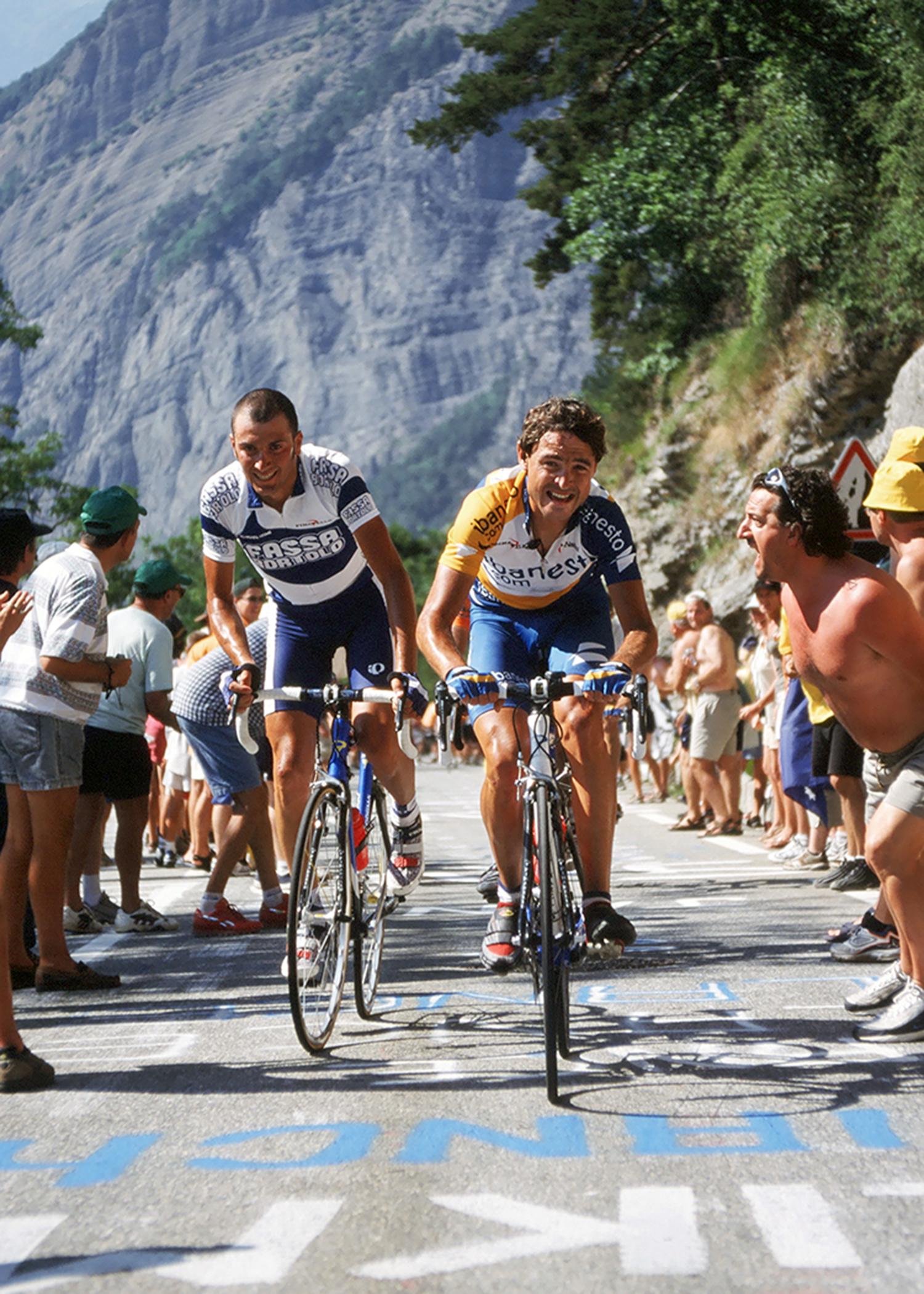 Ivan Basso & Francisco Mancebo climbing Alpe d'Huez at the Tour de France. Shot on film.