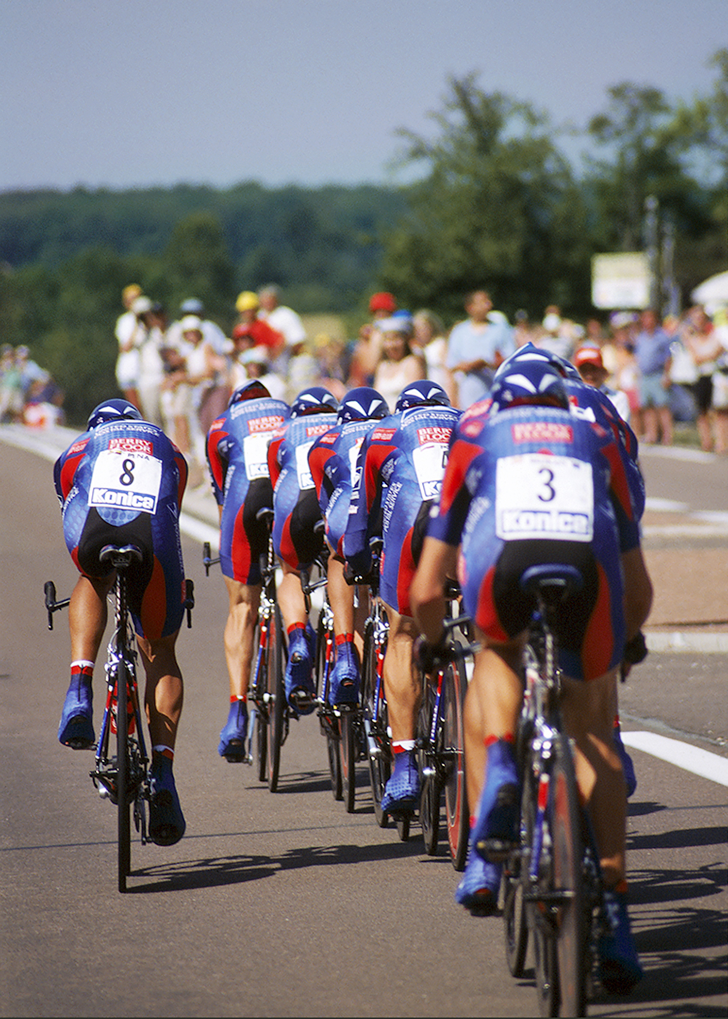 The United States Postal Service Team during the Team Time Trial at the Tour De France. Shot on film.