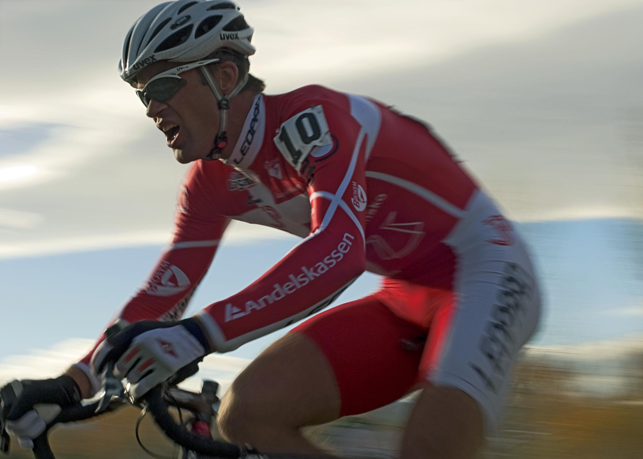 Danish National Cyclocross Champion Joachim Parbo at speed.