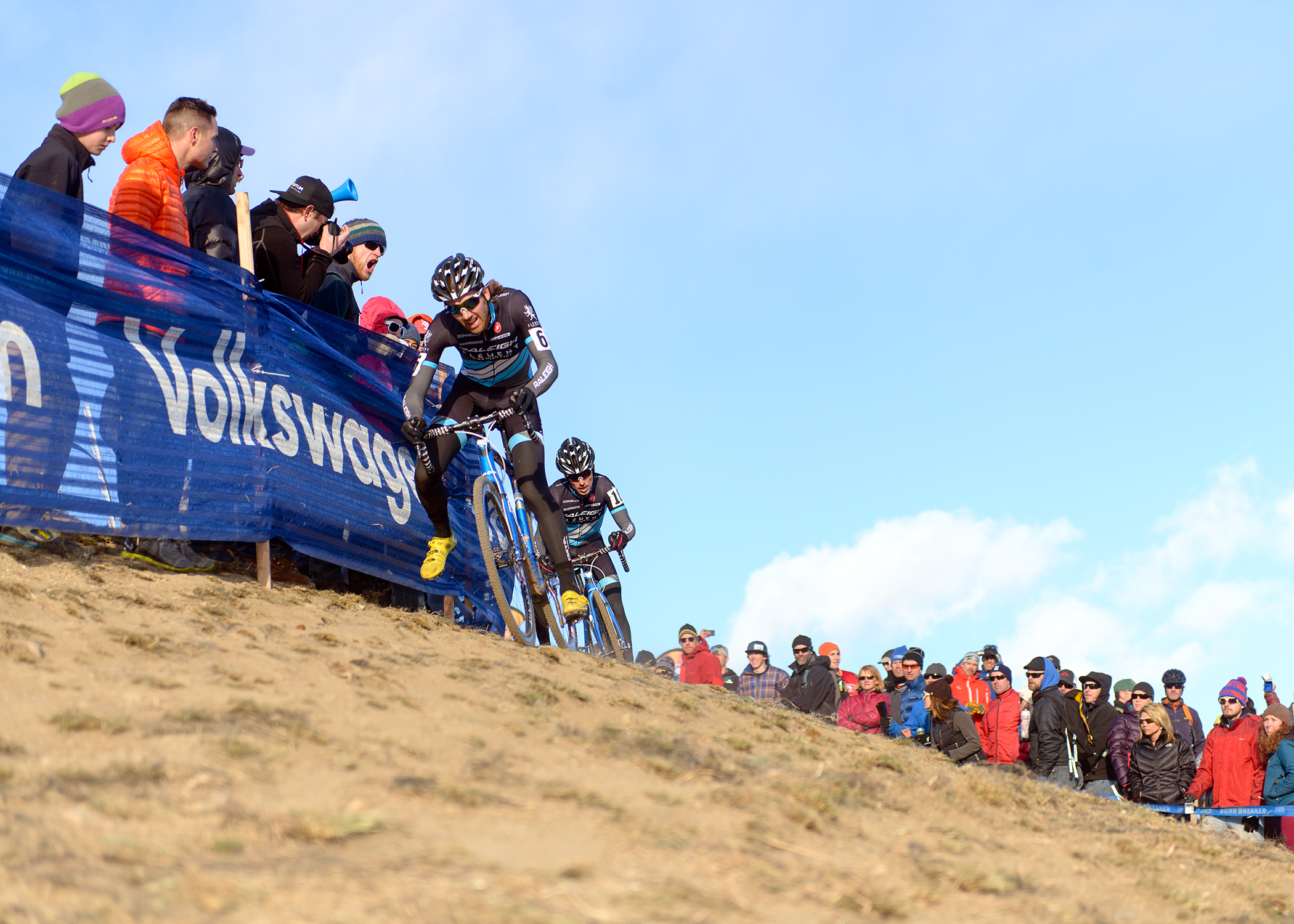 Jamie Driscoll leads his Raleigh/Clement teammate Allen Krughoff at the National Cyclocross Championships at Valmont Bike Park in Boulder, CO.