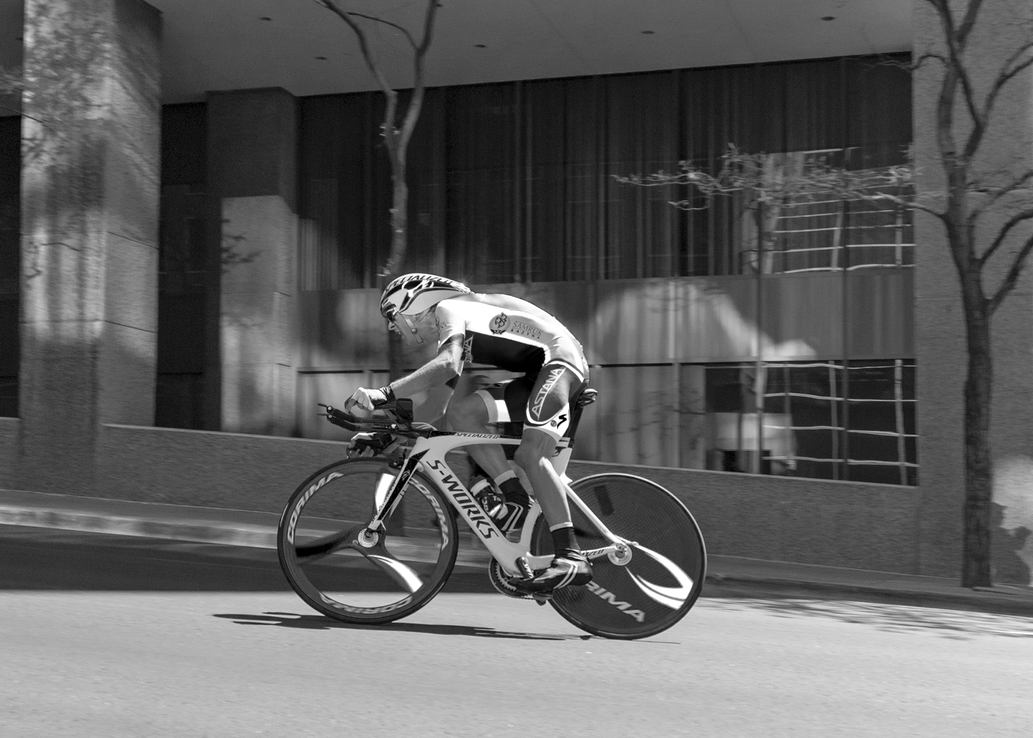 Astana team racer at speed during the individual Time Trail in  downtown Denver at the Tour of Colorado.