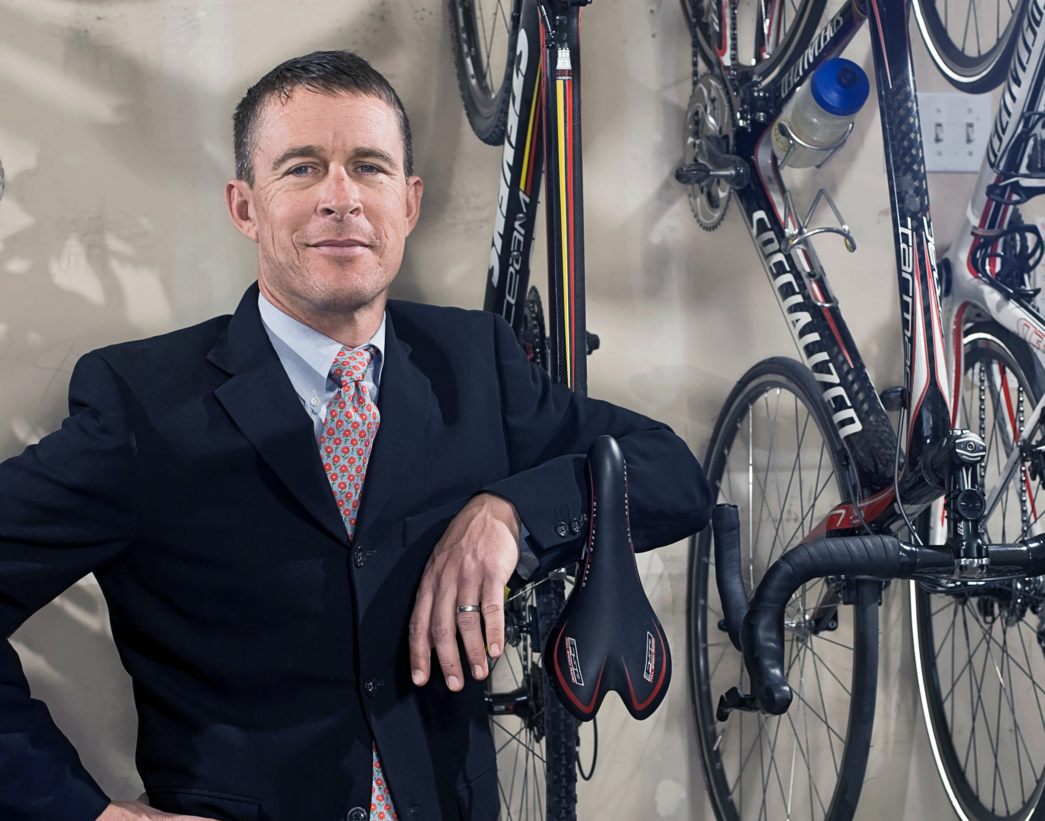 Dave, his awesome suit and his Stevens for the My Favorite Bike Portrait Series