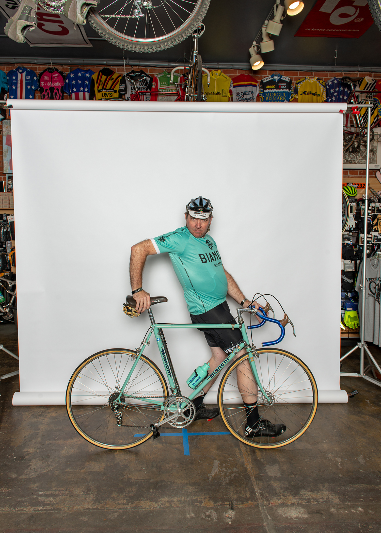 Jim and his Bianchi at the Vintage Ride Photo Booth.