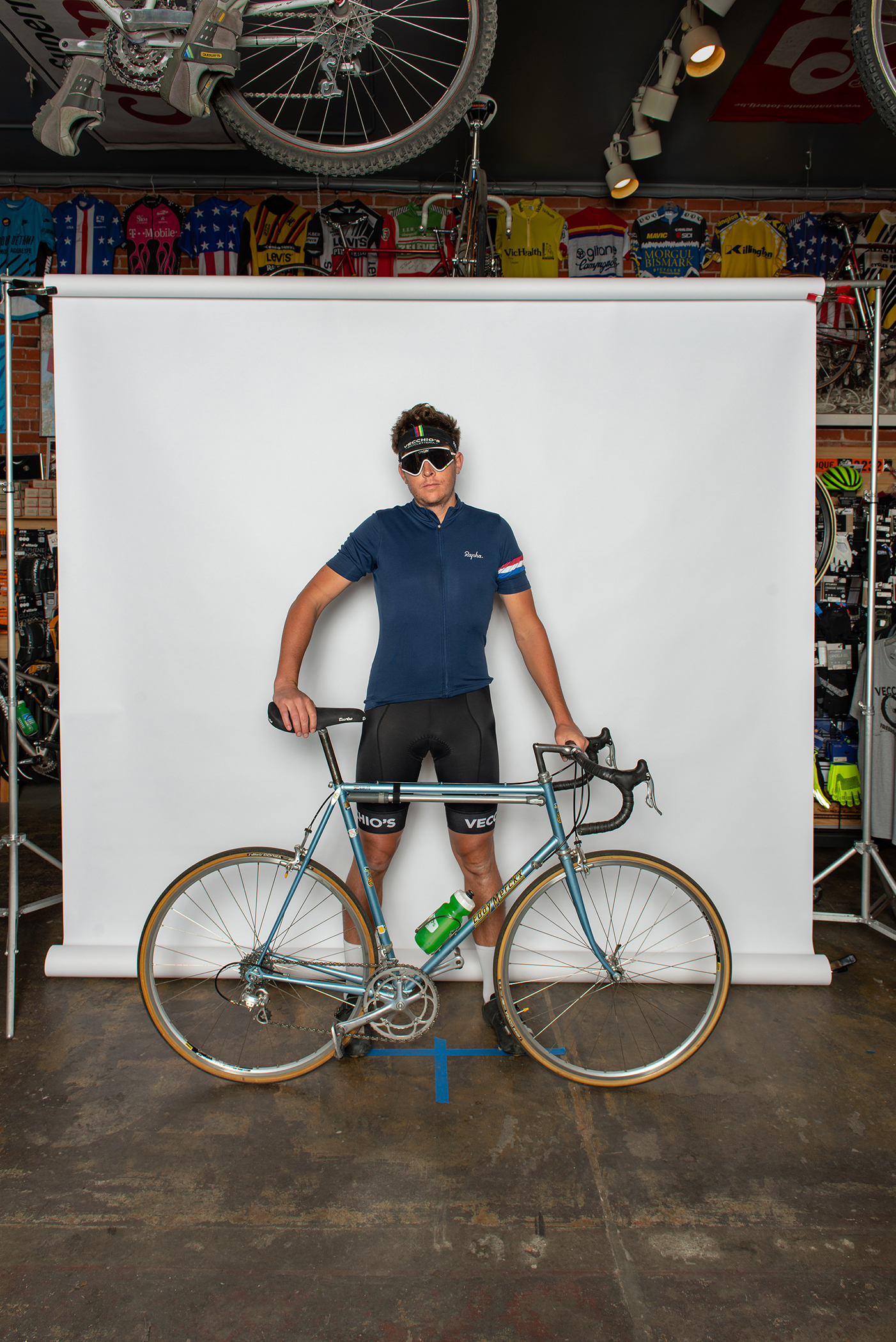 Mat and his Eddy Merckx  At the Vintage Ride Photo Booth.