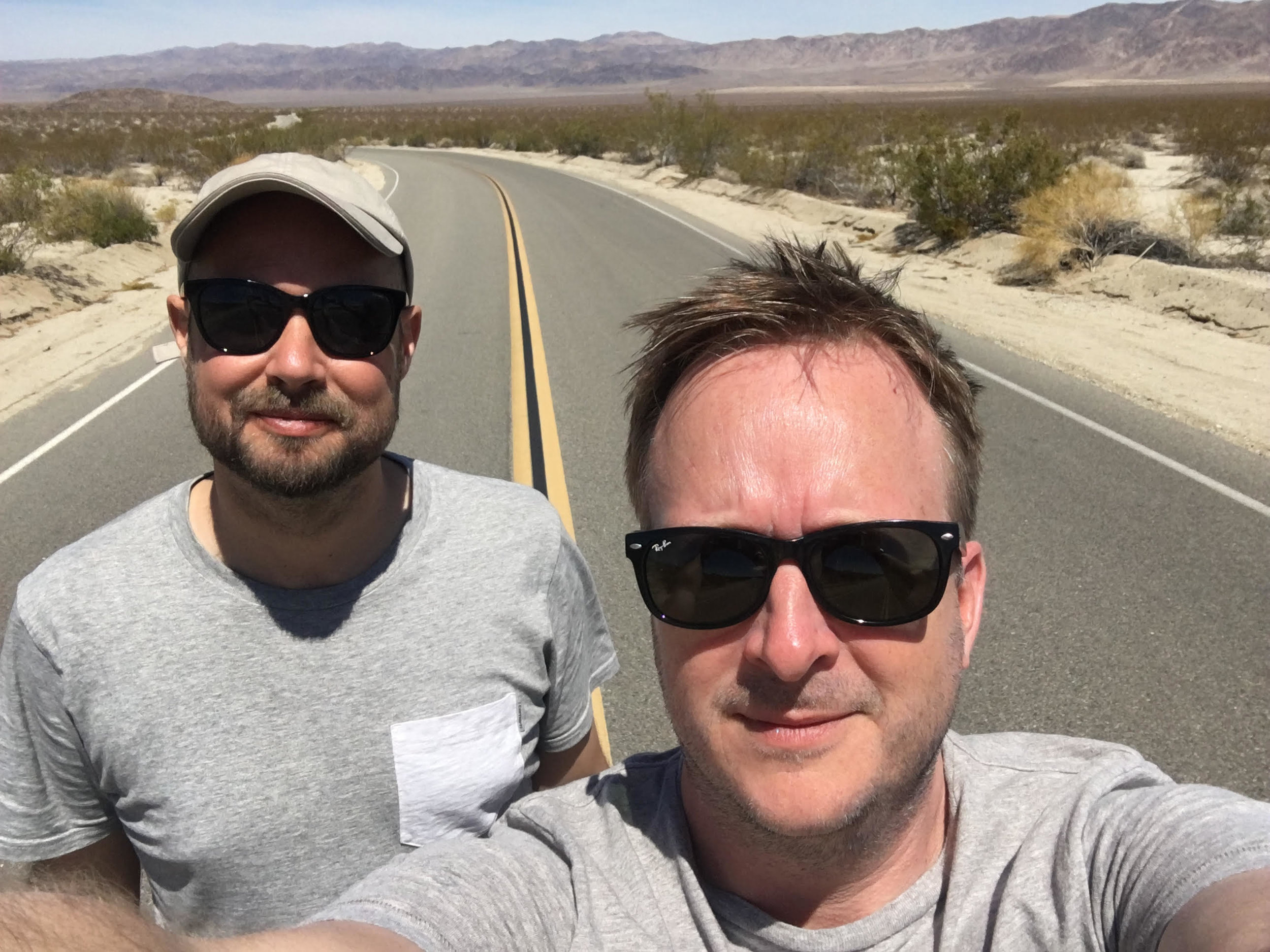 Alex and Pete on location for Dead Man Talking