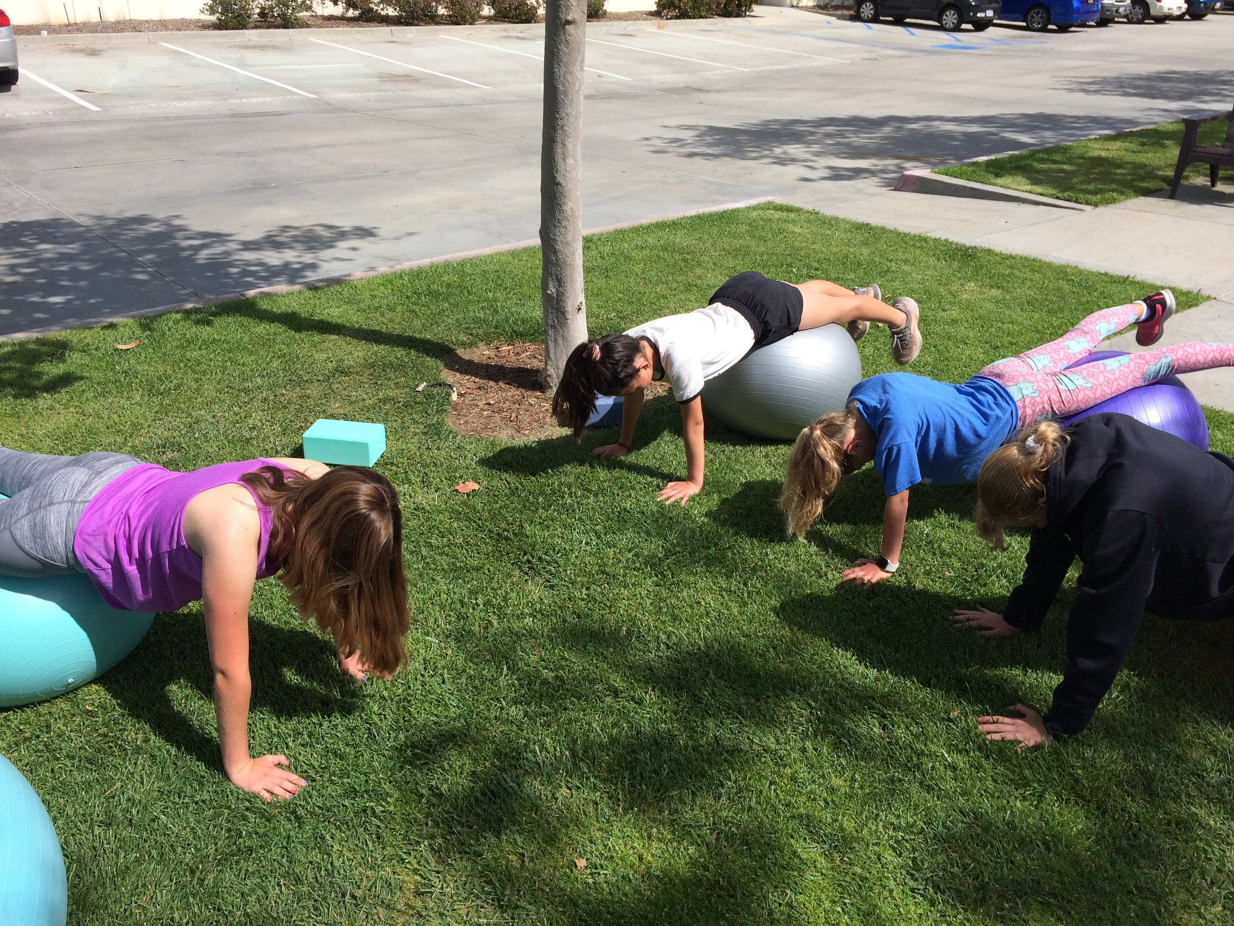 Girls learning healthy habits in San Diego, California