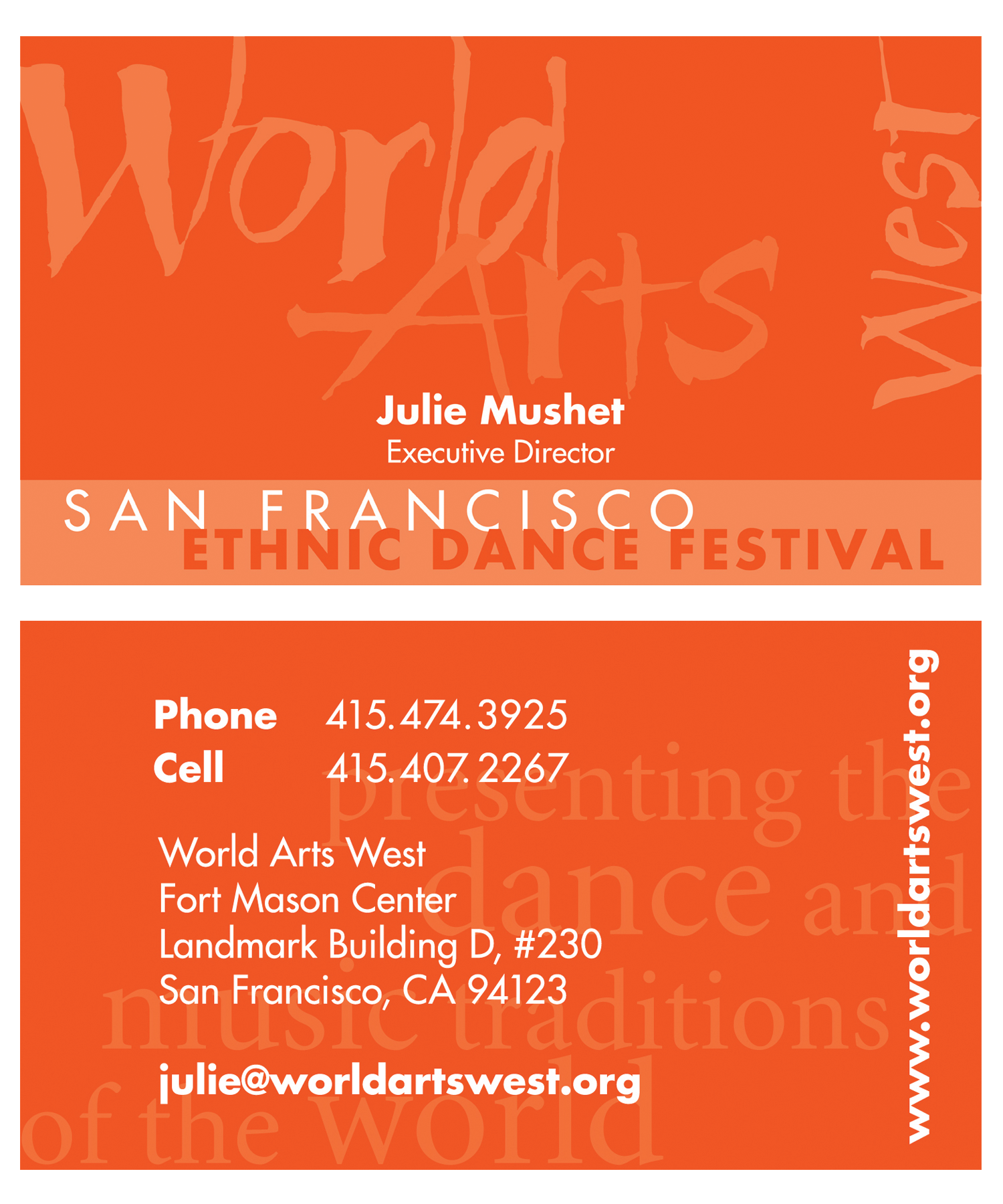 World Arts West Business Card