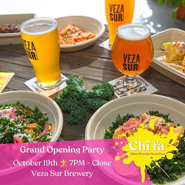 """🎉 Come celebrate the Grand Opening of our new #ChinoPeruvian #FoodTruck at @vezasurbrewingco on Oct. 19th. 🎉 🍻Enjoy #VezaSur's #HappyHour from 4-7PM with $2 Chopp #lager #beers! 🍍7PM-CLOSE we will offer $10 food and beer pairings - choose any dish from our menu's """"This"""" or """"That"""" PLUS a #VezaSurBrewingCo #beer (includes choice of Latin Lager, Dark Lager or #Mango #BlondeAle). 🎤 LIVE music from 9-11PM! ———————————————— #ChifaStreet #Chifa #Miami #MiamiFood #MiamiFoodie #MiamiEats #Wynwood #FoodTrucks #MiamiFoodTruck #MiamiEvents #CraftBeer #MiamiBeer #MiamiBeerScene #MiamiBrewery"""