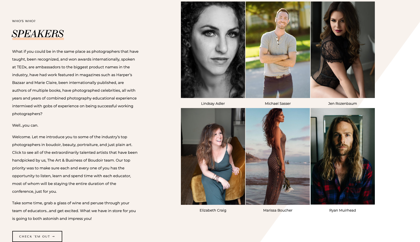 The Art & Business of Boudoir Conference 2020 Speakers