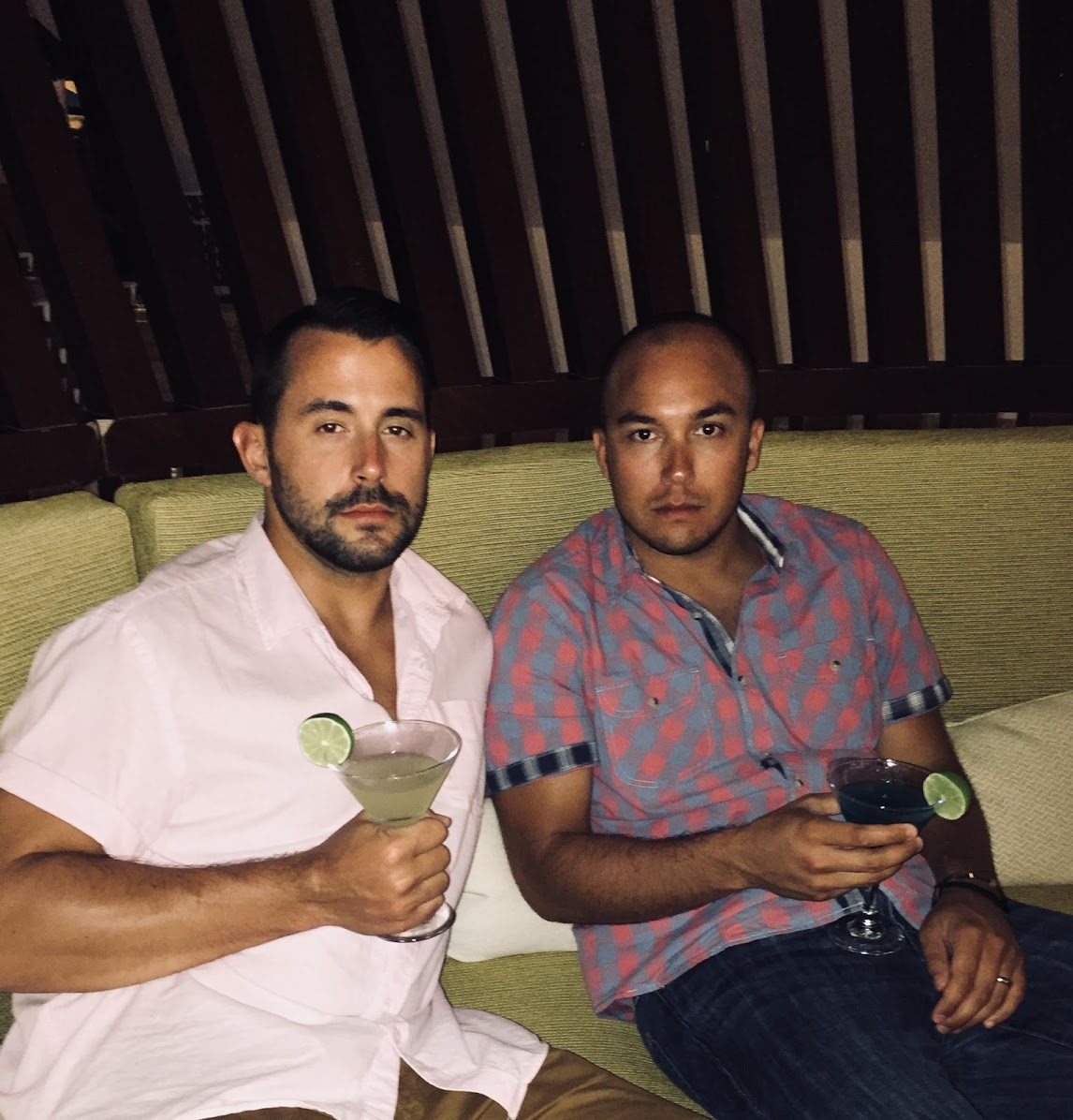 Our gentlemen with martinis in the Dominican Republic