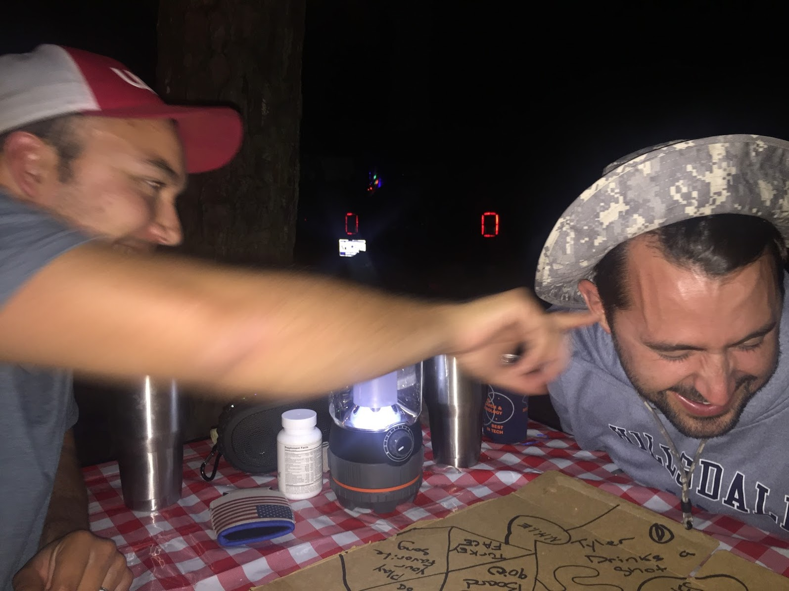 Camping bromance + wet willy + quarters game