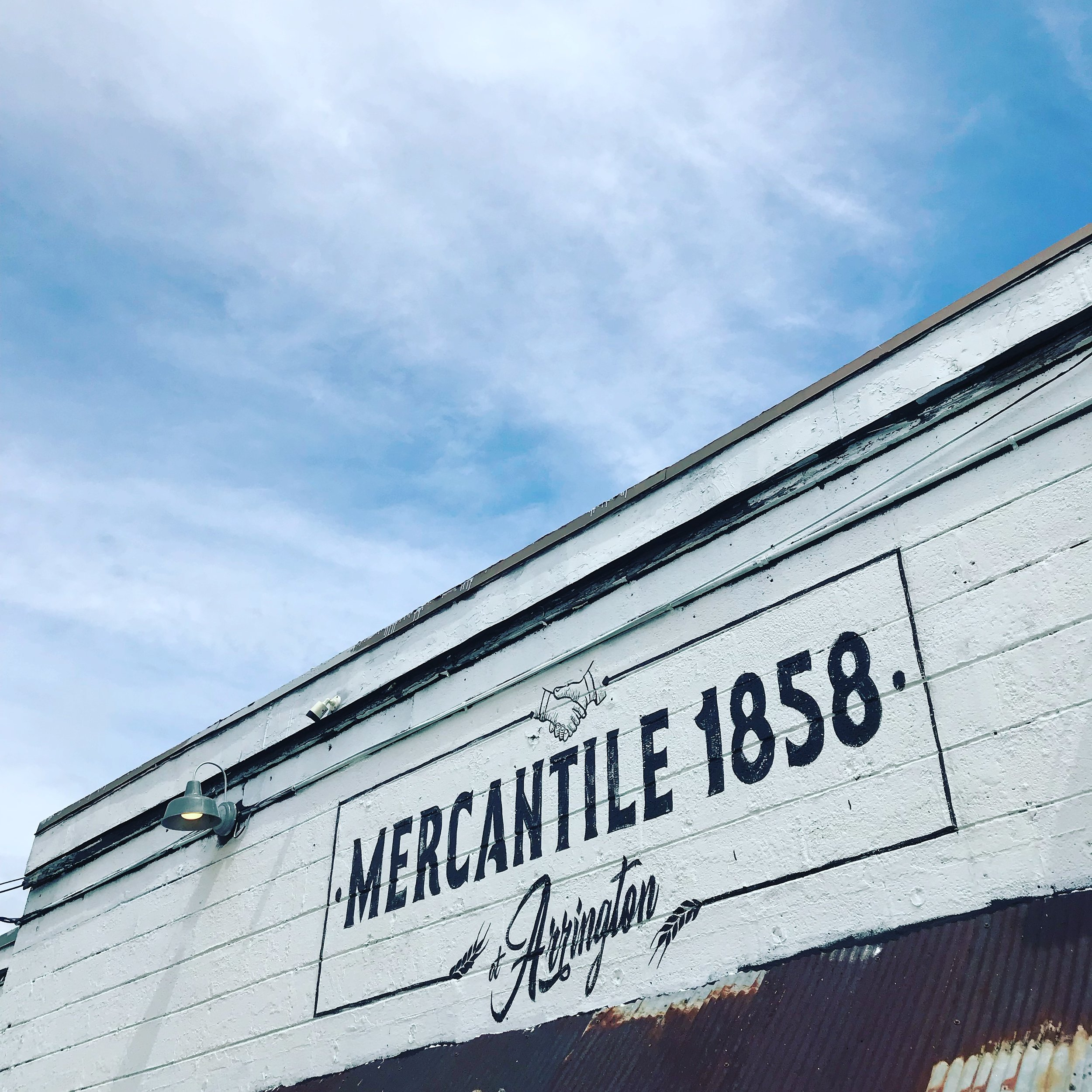 Hand-painted sign for Mercantile 1858