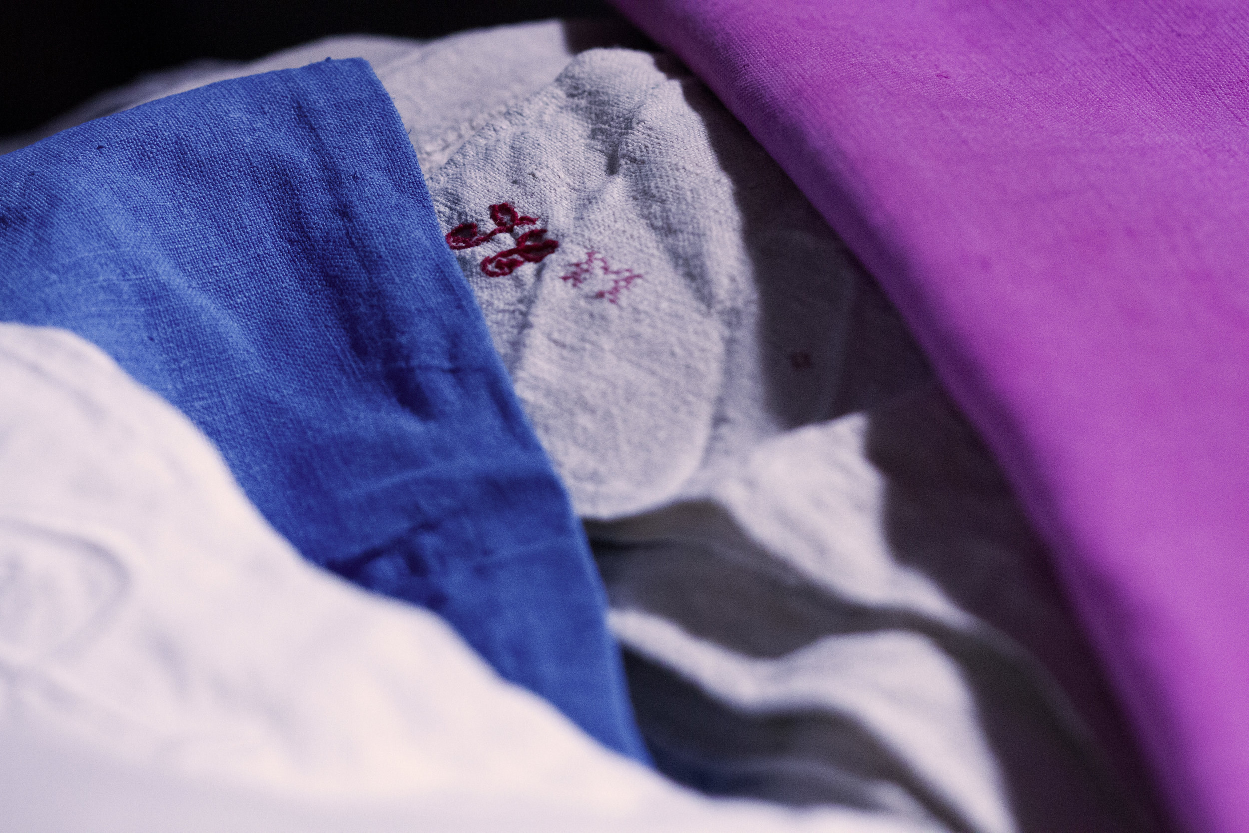 linen + fabric + cushions -