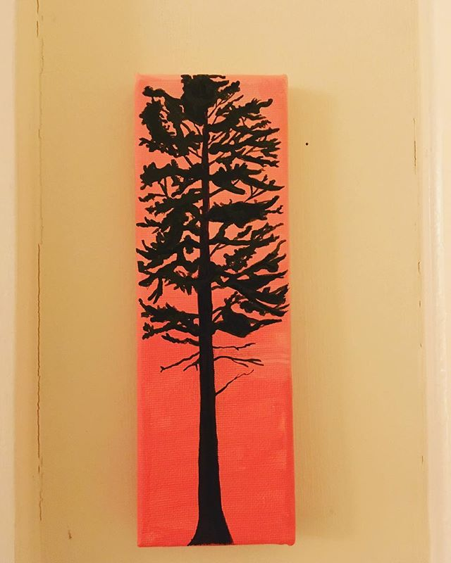 "Painting was the first art form I fell in love with. The brush strokes and blending of colors is always so soothing. Not to mention that painting is so diverse and open for interpretation, anything goes! Here is a little version of a big tree, now for sale!  Measures 3x8.75"" acrylic on canvas.  DM me to buy! $40 and she could be yours!! #painting #acrylic #canvas #tree #whitepine #fandthandmade #sunsethour"