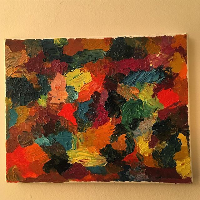 Even though they're messy to work with, I love oil paints. I did this simple, textured, painting years ago and the vibrant colors still bring me joy. Now available to brighten your home. Asking $50 Message me to buy!  #oilpaints #canvas #painting #fandthandmade #colorwheel #bright #vibrant