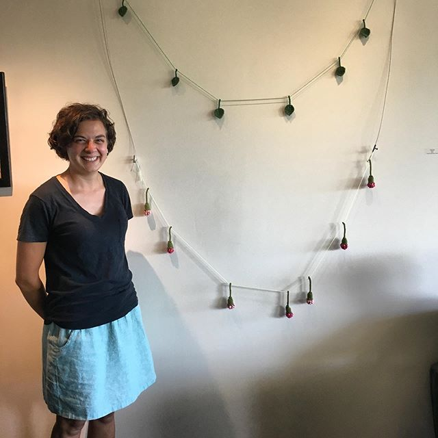 Stop by the fourth floor of the Davis Center to see the @universityofvermont staff art show! On display until October.  DM to purchase your own flower or leaf garland (winter is coming!) #fandthandmade #knits #garland #inspiredbynature