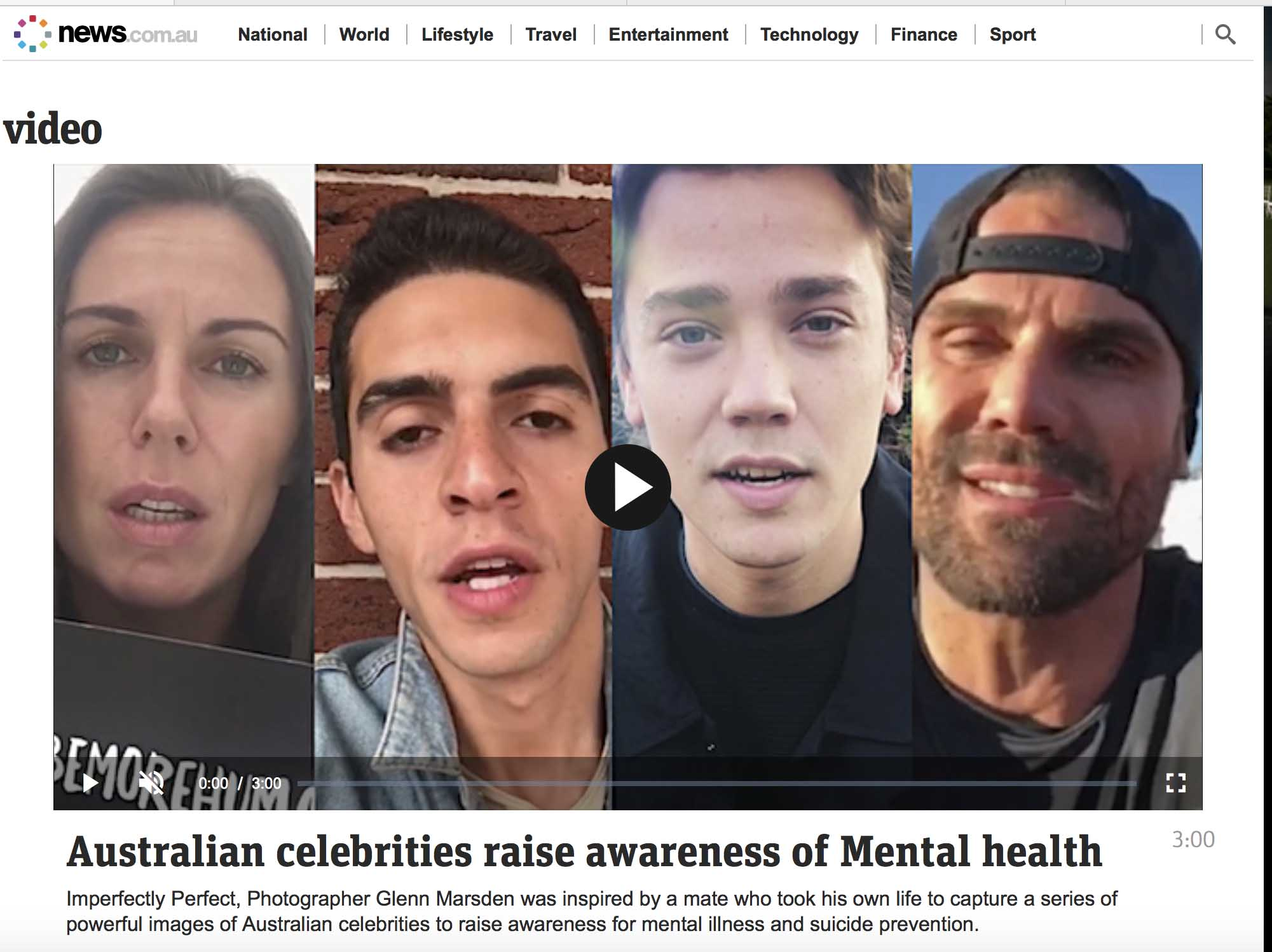 News.com.au - Australian Celebrities raise awareness of Mental health