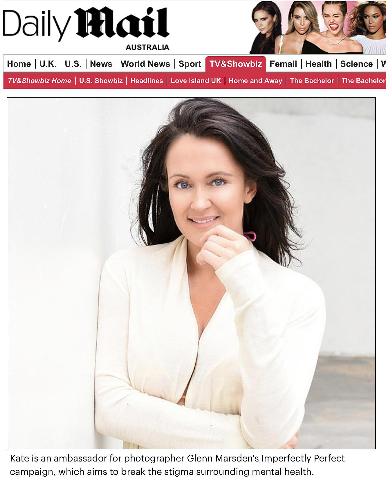 Daily Mail Australia - Kate Neilson, Ambassador for Glenn Marsden's Imperfectly Perfect Campaign.