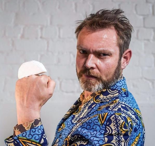 Hugh posing with Camembert