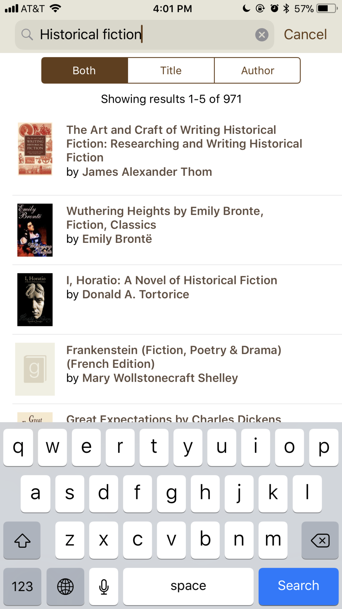 "Searching for ""historical fiction"" returns many books with historical fiction in the title."