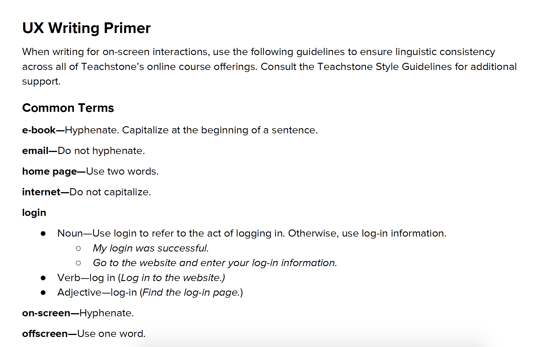 UX Writing Primer -