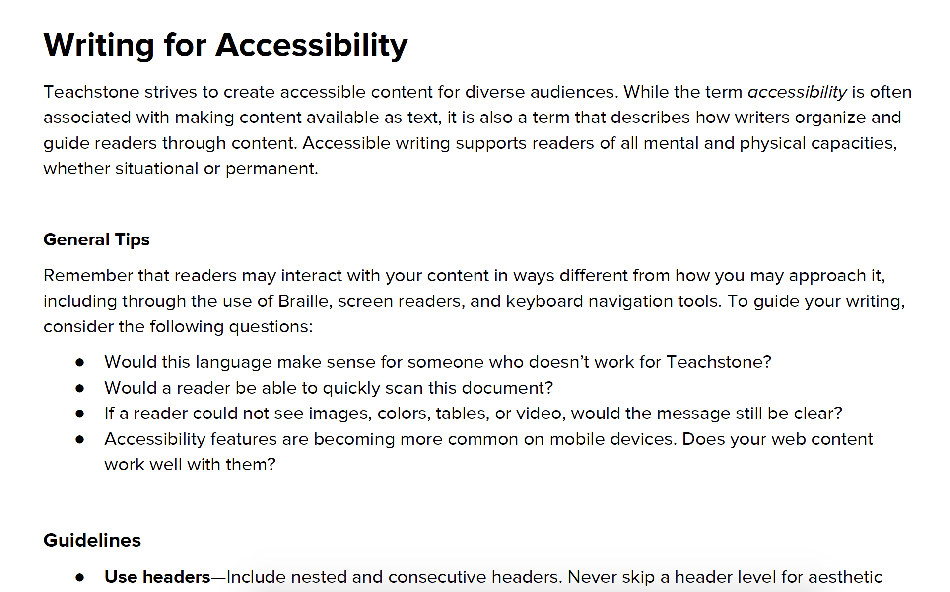 Accessible Writing Guidelines -
