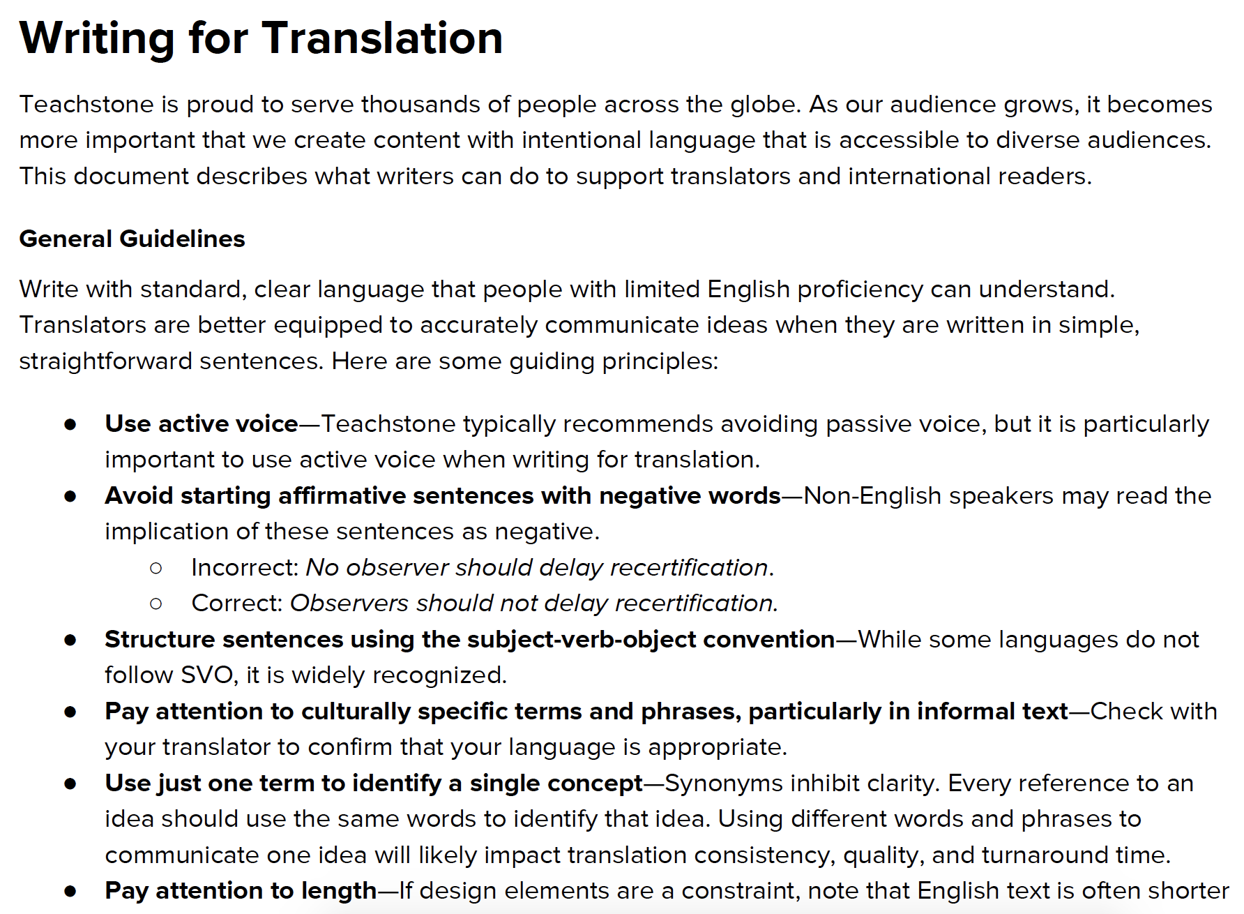 Writing for Translation Guidelines -