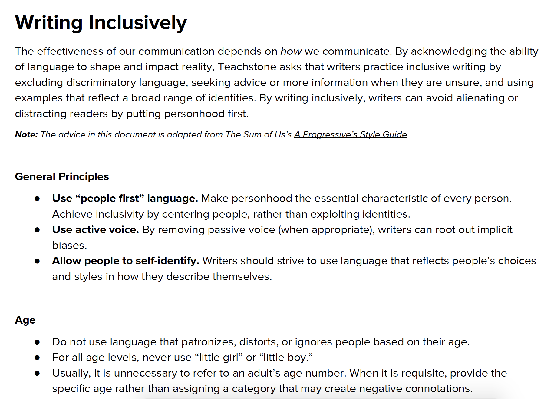 Guidelines for Writing Inclusively -