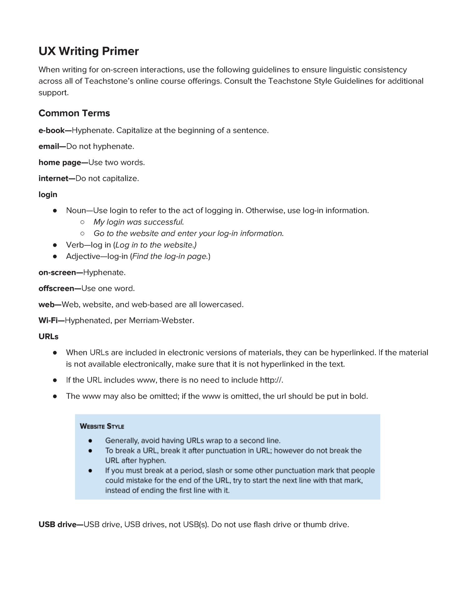 UX Writing & Editing