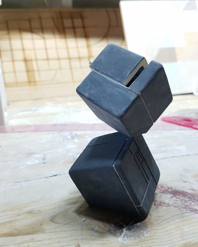 Some more cubes, this time they're black. #black #porcelain #cubes