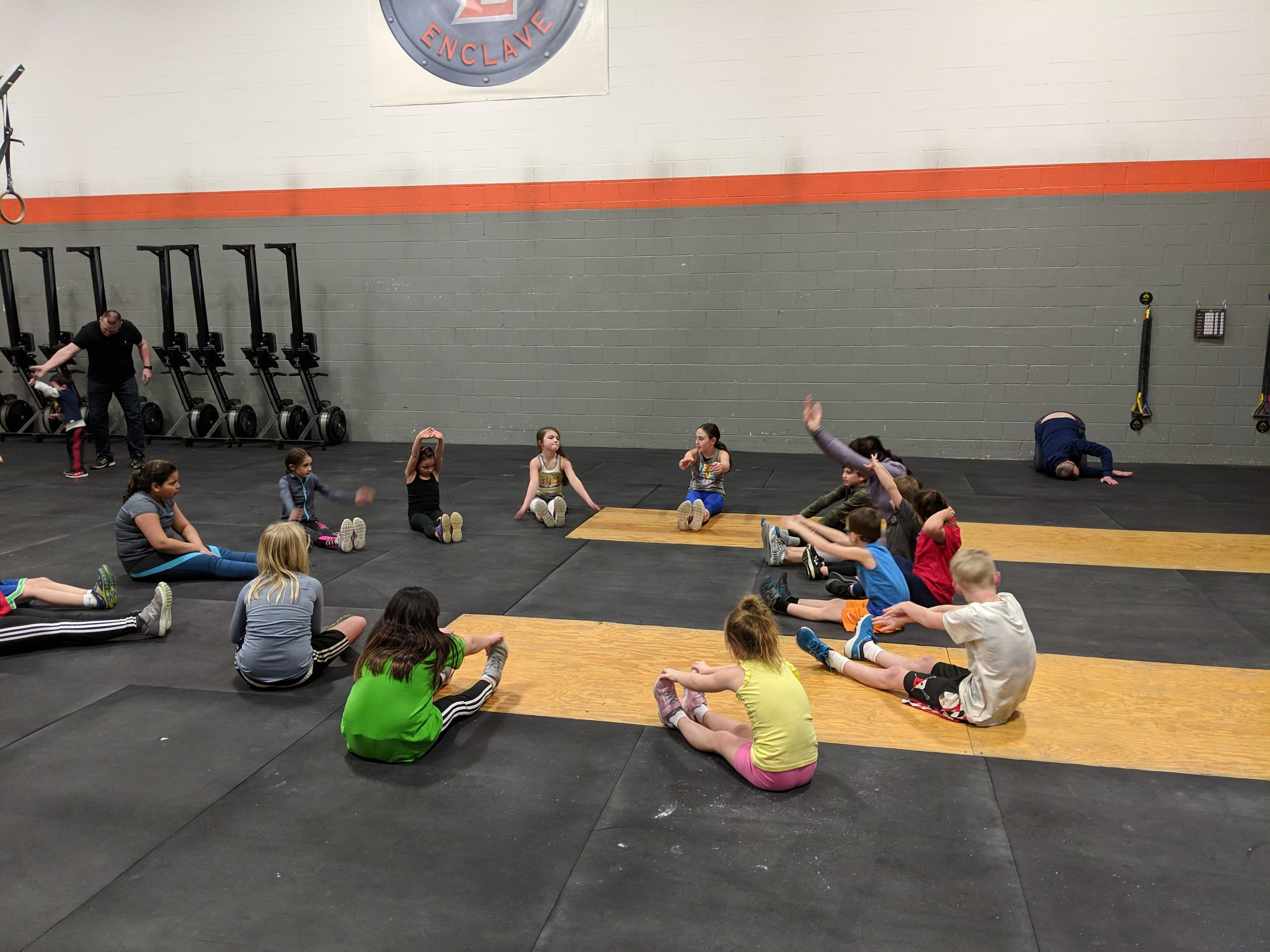 Practicing mobility during kids class