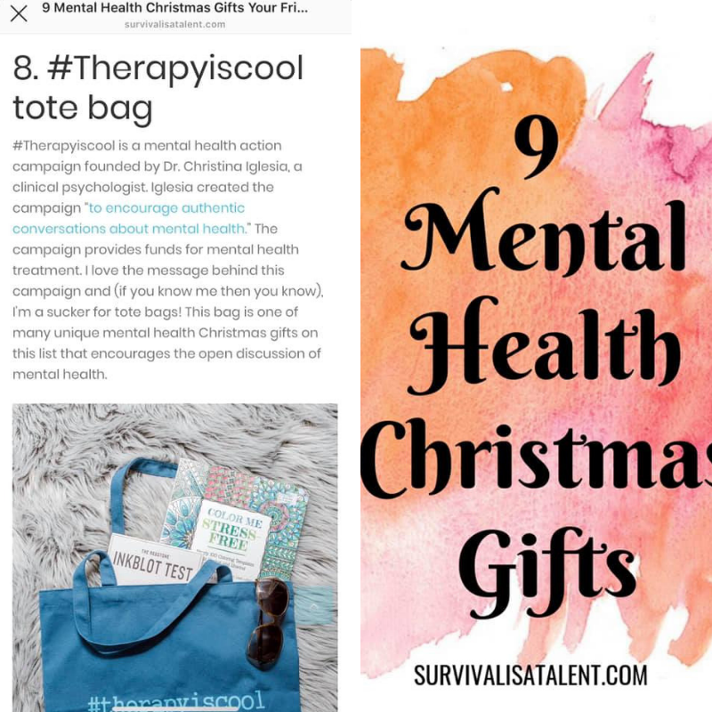 Thank you @writerswithmentalillness for featuring the  #therapyiscool  mental health action campaign on your holiday list! 🎁  What an amazing way to support each other in the mental health community. From books to handmade jewelry, this list of gifts has something for every person on your list!  Full article is available at  https://survivalisatalent.com/…/mental-health-christmas-gi…/  ⬅️