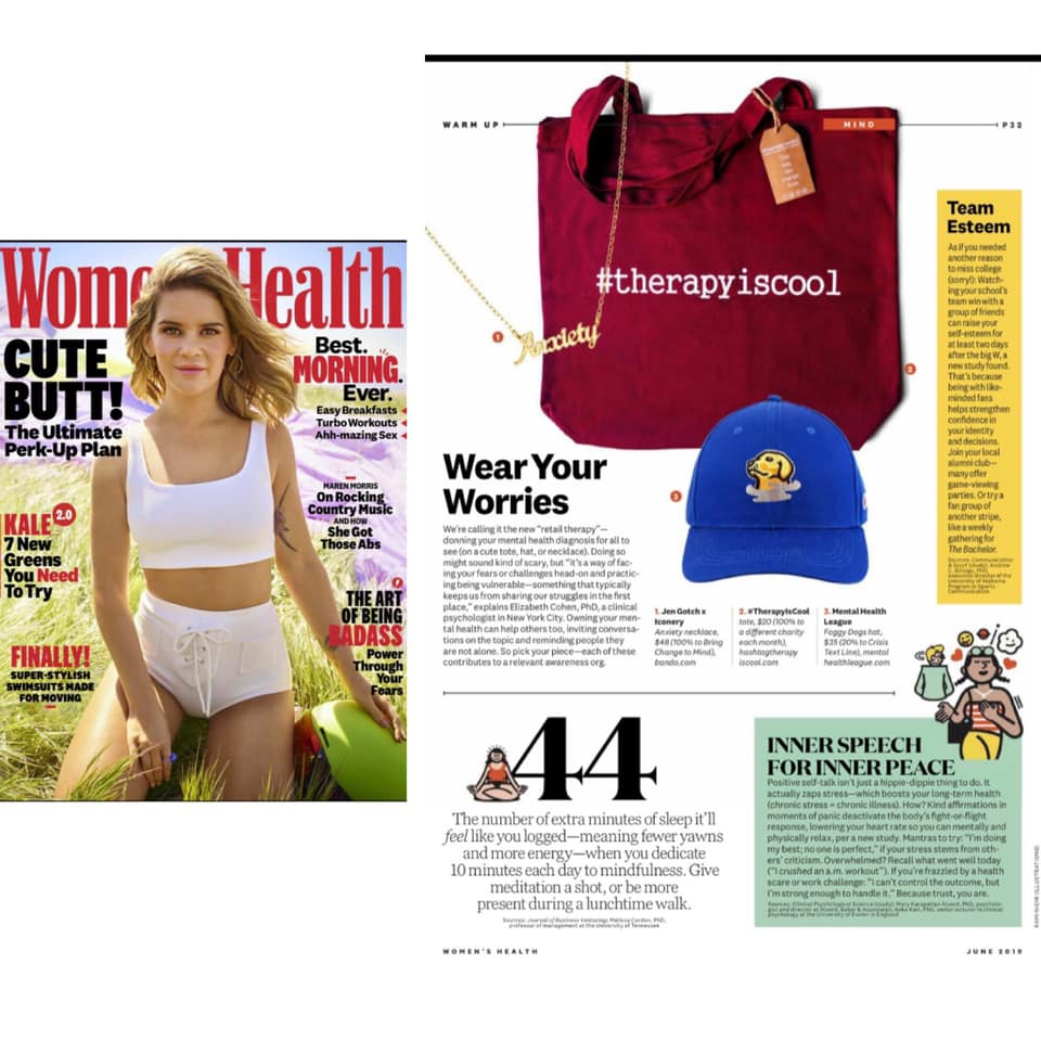 The    #therapyiscool    mental health action campaign is being featured in the June 2019 Issue of Women's Health Magazine now available in stores!    Thank you Women's Health for publishing this piece and helping break the stigma that surrounds mental health. Thank you for highlighting the fact that mental health IS health, in a society that all too often narrowingly defines health as a physical or medical state.    Thank you to each and every one of you who continuously supports the #therapyiscool mental health action campaign!    Together, we have the power to change the conversation around mental health! And guess what, it is changing before our very eyes!